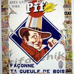 """40 """"Pif Gadget"""" acrylique et collage/toile 80x60cm 2006 600€"""