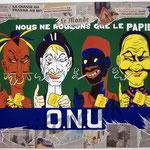"""51 """"O.N.U"""" acrylique et collage/toile 120x80cm 2007 1200€"""