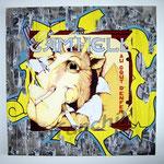 """78 """"Cam'Hell"""" acrylique et collage/toile 100x100cm 2008 1200€"""
