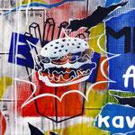 """0144 """"BURGUERIOU KOUIGN"""" Acrylique/toile  55x35cm 2019 600€"""
