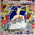 """61 """"Bouillon de Rue"""" acrylique et collage/toile 100x80cm 2008 900€"""