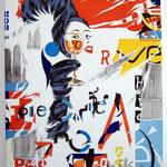 """106 """"Le verre à l'oeil"""" acrylique/toile 100x8Ocm 2012  900€"""