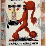 """52 """"L'huile à Rachid"""" acrylique et collage/toile 80x60cm 2007 vendu"""