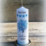 Lebensbaum druck blau mit Wimpelkette (25x8cm)