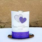 Perlmuttkerze mit Teelichteinsatz lila  (Maße: 190x120x70mm)