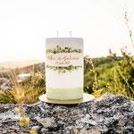 Eukalyptus am Berg, Hochzeitskerze Oval, 2Docht