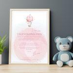 Das Taufversprechen rosa, A4,  (gerahmt)