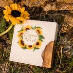 Sonnenblumen, Blockkerze mit Holzeinsatz und Teelichtern, Maße: 20x20x7cm