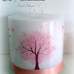 Lebenskerze, 3-Docht Lebensbaum rosa, Maße: 15x14cm