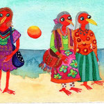 some colorfull dressed old Hippieladies, this card is dedicated to Rita, who was one of them and died when i had finished this card
