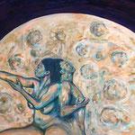 Den Mond umarmend, Acryl auf Leinwand, 100 cm x 80 cm, 2019