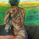 """""""Der neue Tag"""", Acryl auf Baumwolle, 50 x 70 cm, 2014"""