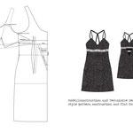 Modellschnitt und Technische Zeichnung Negligée Nachtwäsche