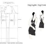 Schnittkonstruktion eines Negligées Nachtwäsche