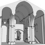 La nef, vue vers Ouest, restitution