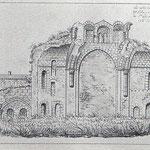 Vue de L'Est (transept, salle capitulaire), dessin Auguin 1840