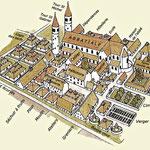 Essai de restitution d'après le « plan idéal de Saint-Gall »