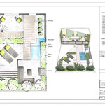 Grundriss und Perspektive handcoloriert in CAD