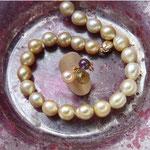 Tawny South sea pearls & a ring of tasty sorbet shades