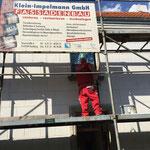 Restaurierung einer historischen Quarderfassade in Duisburg Baerl nach starker Durchfeuchtung unter anderem durch aufsteigende Feuchtigkeit