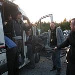 Ab und zu musste unser Werkstattwagen auch als Taxi herhalten