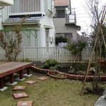 レンガで作る園路と花壇