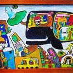 『くじらのまち No.14』 Oil painting F10 530 ×455   Copyright ©2013 U-1 `s nezumi13 All Rights Reserved.