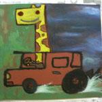 『キリンと出発』 Oil painting F10 530×455