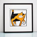 Cat scratched framed