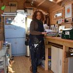 Lucy inside her studio