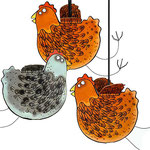 3D Hen Greeting Cards