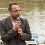 Vincent Joineau. Péniche insoumise de la 12ème circonscription de Gironde. 7 juin 2017, Cadillac.