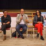 Nathalie Chollon-Dulong, Christophe Miqueu, Mathilde Feld. Réunion publique des Insoumis de la 12ème circonscription, 6 juin 2017, Sadirac