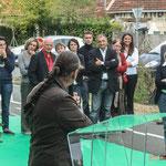 Martine Faure s'adresse à toutes les personnes présentes, toujours sans aucune note. Inauguration du gîte d'étape de Citon-Cénac. 01/10/2010