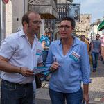 Christophe Miqueu, Nathalie Chollon-Dulong, candidats sur la 12ème circonscription de la Gironde, élections législatives 2017. Marché de Cadillac, 27 mai 2017