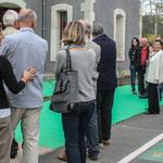 Arrivée d'un groupe de cyclo-touristes sur la Piste Roger Lapébie, future voie verte européenne. Inauguration du gîte d'étape de Citon-Cénac. 01/10/2010