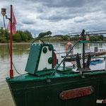 La proue du Silène. Péniche insoumise de la 12ème circonscription de Gironde. 7 juin 2017, Cadillac.