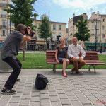 Le photographe de Sud-Ouest cadre Thiphaine Maurin, suppléante et Loïc Prud'homme candidats la France insoumise sur la 3ème circonscription de la Gironde. Bordeaux, 13 juin 2017