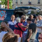 Daniel Barbe, Maire, accueille la caravane des Insoumis. Réunion de place des Insoumis de la 12ème circonscription de la Gironde. Blasimon, 25 mai 2017