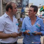 Christophe Miqueu, Nathalie Chollon-Dulong, candidats aux élections législatives 2017 sur la 12ème circonscription de la Gironde. Marché de Cadillac, 27 mai 2017