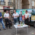 Christophe Miqueu, candidat aux élections législatives. Permanence mobile la France insoumise à Saint-Macaire le 9 juin 2017