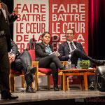 3 Benoît Hamon sourit de temps à autre aux propos des intervenant-es, ici Pascal Lafargue, Président d'Emmaüs Gironde. #benoirhamon2017