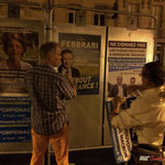 Neutralisation insoumise sur des panneaux électoraux du 1er tour. Créon, 14 juin 2017