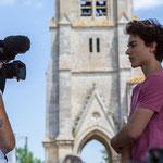 Tom Ibbara est interviewé pour le reportage de Marie Neuville, Marc Lasbarrès, Corine Berge, France 3 Aquitiane. 10 juin 2017, Camblanes-et-Meynac