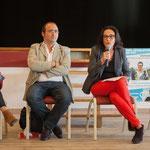 Nathalie Chollon-Dulong, suppléante, Christophe Miqueu, Mathilde Feld. Réunion publique des Insoumis de la 12ème circonscription, 6 juin 2017, Sadirac