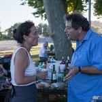 Mathilde Feld, Alain Barbes, Président de l'Association des maire ruraux de la Gironde. Pique-nique des Insoumis de la 12ème circonscription de la Gironde, la Réole, 16 juin 2017