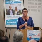 Intervention de Nathalie Chollon-Dulong, suppléante à la candidature sur la 12ème circonscription de la Gironde. Rassemblement de la gauche, Mairie de Créon, 14 juin 2017