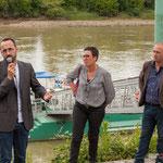Vincent Joineau, Nathalie Chollon-Dulong, Christophe Miqueu. Péniche insoumise pour la 12ème circonscription de Gironde. 7 juin 2017, Cadillac.