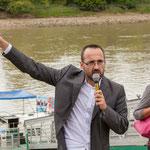 Vincent Joineau, Nathalie Chollon-Dulong. Péniche insoumise pour la 12ème circonscription de Gironde. 7 juin 2017, Cadillac.