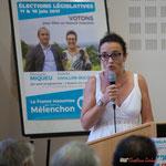 Soutien de Mathilde Feld, Présidente de la CDC du Créonnais, marraine du comité de soutien à Christophe Miqueu. Rassemblement de la gauche, Mairie de Créon, 14 juin 2017
